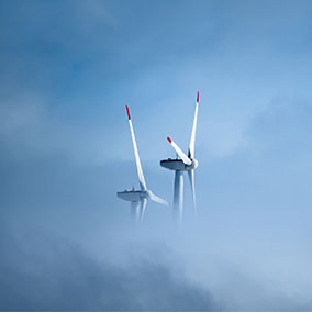 wind turbine in the clouds