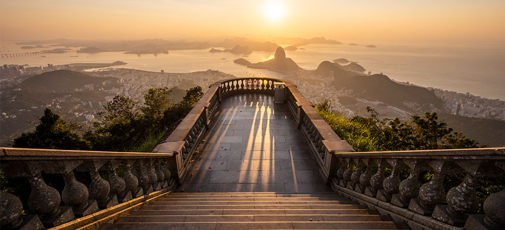 Beautiful sunrise view from an empty Corcovado Mountain staircase