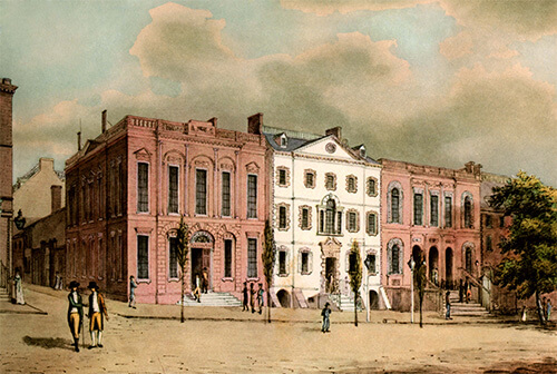 Old painting of historic street