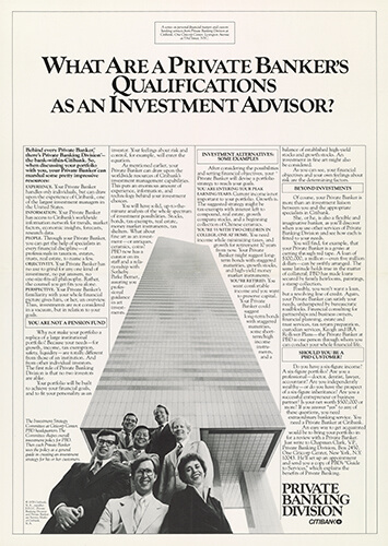 Citibank historic private banking division print advert