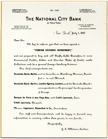 Historic National City Bank of New York opening foreign exchange department