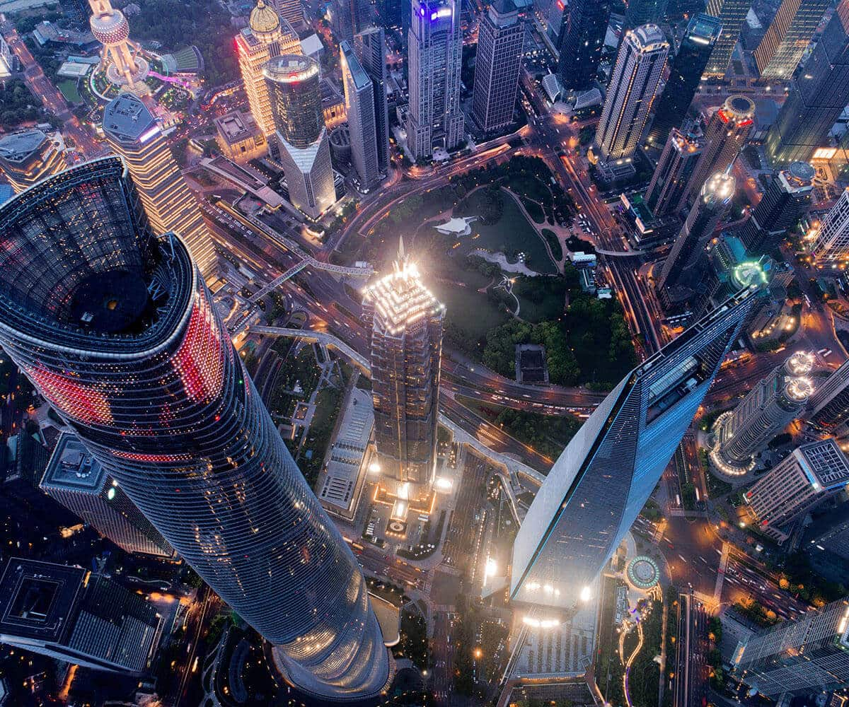 Shanghai aerial view at night